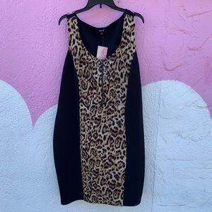 Leopard and black body con dress